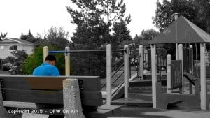 An Overseas Filipino Worker (OFW ) spending time in a park